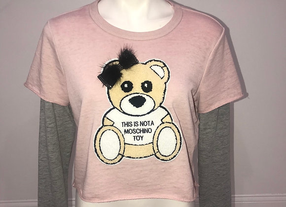Ladies L/S Layered Pullover Top Designer Teddy Bear Chenille Patch