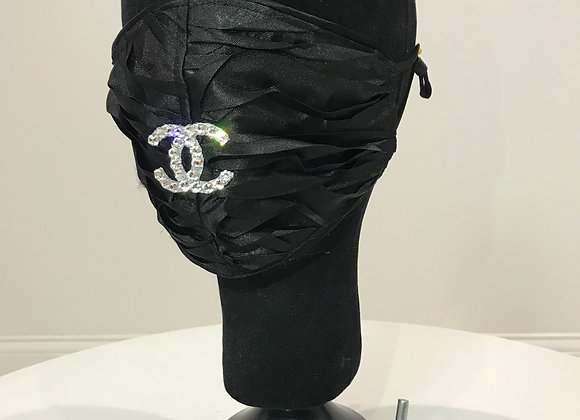 CHANEL, Black Layered Organza, Swarovski Crystal, GLAMical face mask