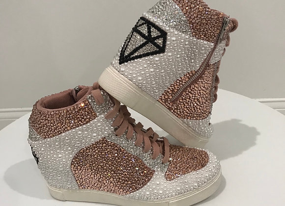 NIKE dunks,  Swarovski Crystals - Pink/Clear/Black, Pearls