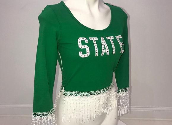 MICHIGAN STATE, S/S Crop Shirt, white crochet trim