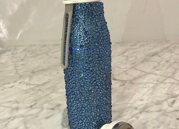 Cobblestone Blue, Coated Stainless Steel Water Bottle, Swarovski Cr
