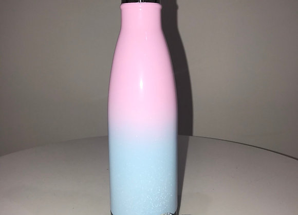 Pink/Blue, Coated Stainless Steel Water Bottle, Swarovski Crystals