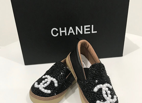 BABY GAP, Baby Shoes, CHANEL Detail, Swarovski Crystals - Black, Pearls