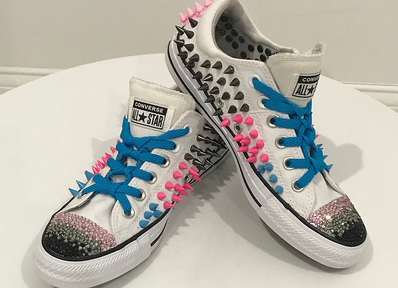 Converse All Star Sneakers, - White, Spikes, Swarovski Crystals