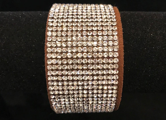 Bracelet, Leather Cuff, Brown, Clear Crystals