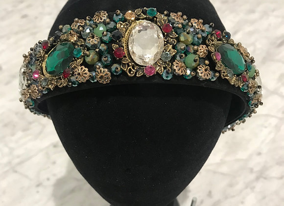 Headband, Black Satin, Baroque Jewels, Crystals, Emerald Green