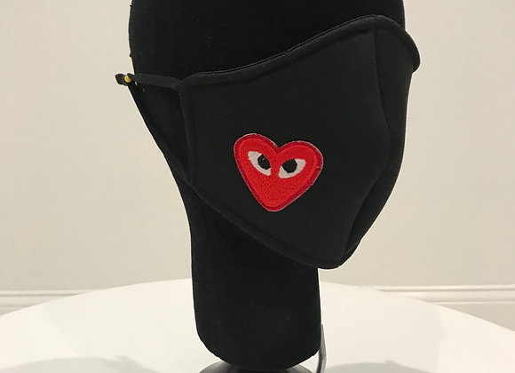 Comme De Garcon, 1 Heart, Black Neo Prene, GLAMical face mask