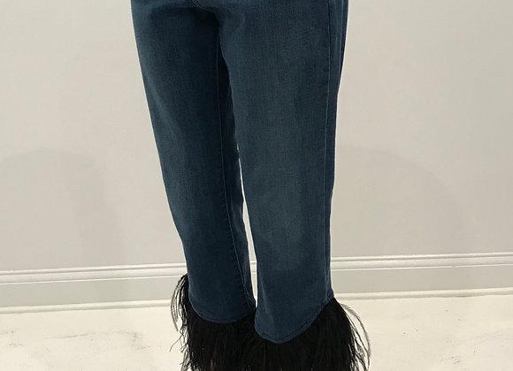 Denim Jeans, LEVI, Blue, Black Ostrich Feathers