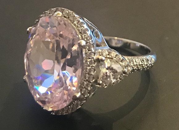 Ring, Moissanite Gemstone, Pink Large Oval