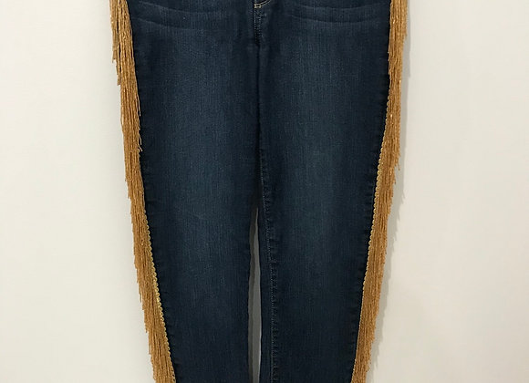 Denim Jeans, PAIGE, Blue, Gold Beaded Fringe