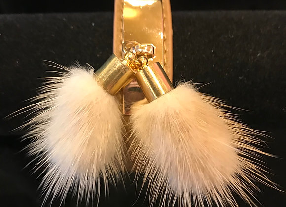 Bracelet, Leather Cuff, Beige, Beige Fur Poms
