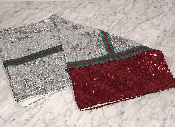 Table Runner, Red & Silver Sequin, Red/Green Trim