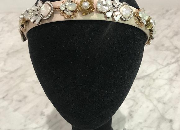 Headband, Cream Satin, Crystals, Baroque, Pearls