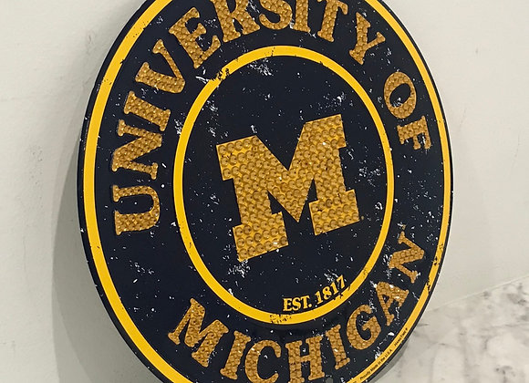 """University of Michigan"" Wall Art, Metal, Swarovski Crystals"