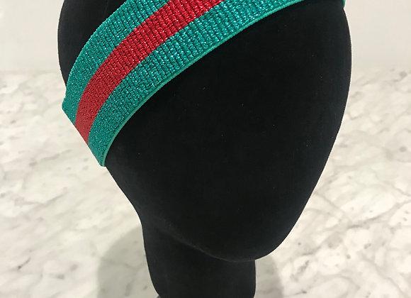Headband, Green/Red Stripe Sparkle, Designer - Gucci
