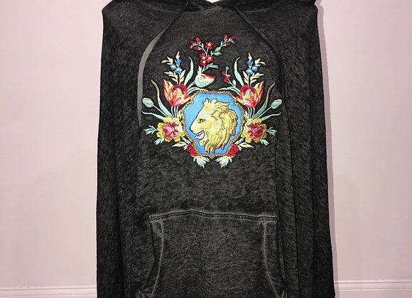L/S hoodedsweater, designer patch, Swarovski Crystals