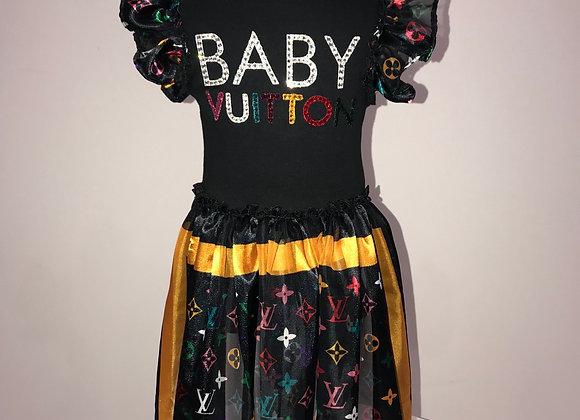 BABY VUITTON S/S Onsie Dress, Designer fabric bustle/slvs, Swarovski Crystals
