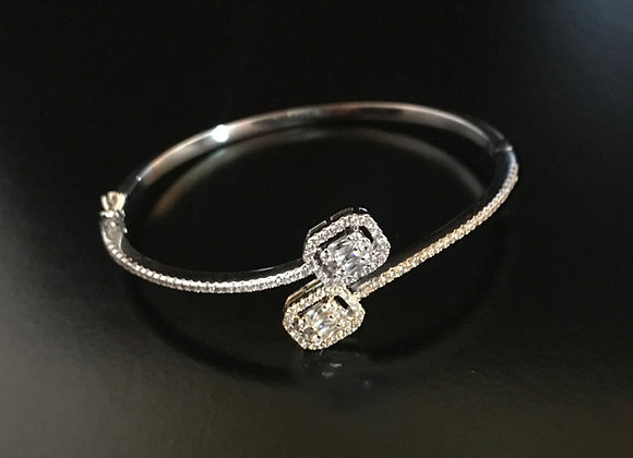 Bracelet, Bangle Cuff, Cubic Zirconia, 2 Interlock Squares