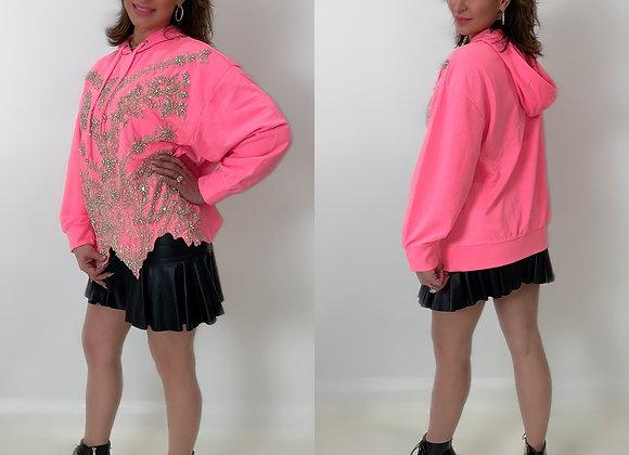 Swarovski Embellished Bodice, Pullover Hoody, Hot Pink