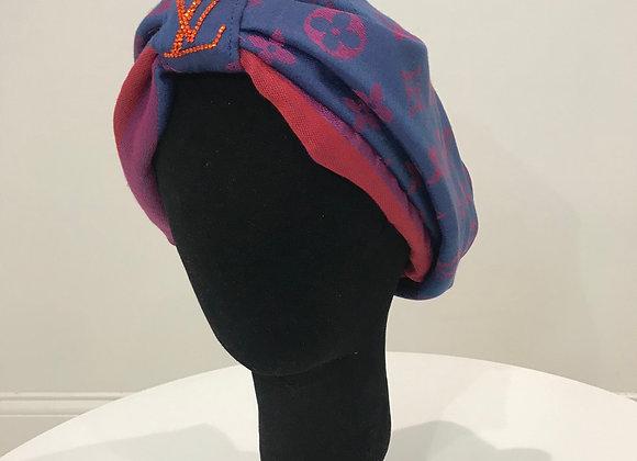 LOUIS VUITTON, Cashmere Blend,(S) Round Logo, Swarovski Crystal, GLAMical Turban