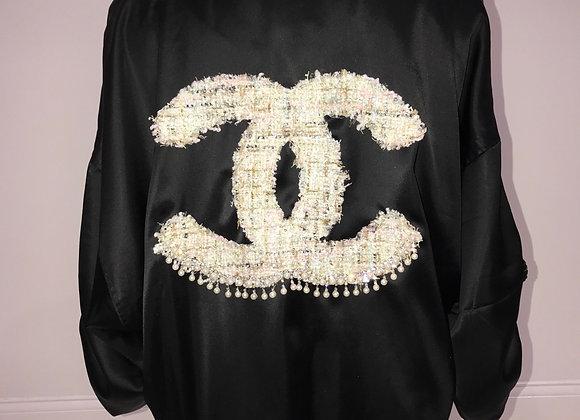 CHANEL, Black Satin Bomber Jacket, Tweed logo,drop pearl fringe detail