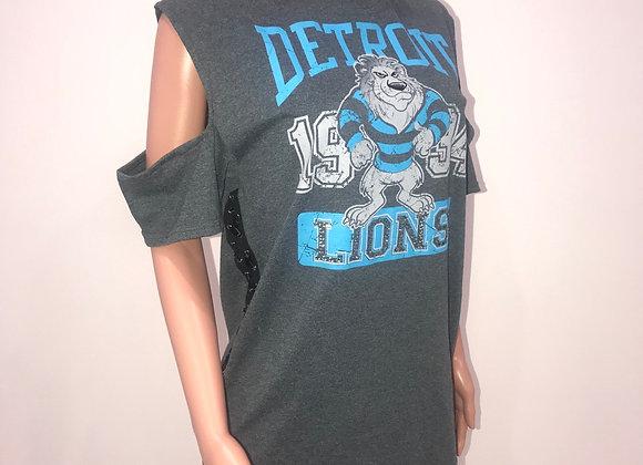 Ladies Cold Shoulder T-Shirt, Swarovski Crystals, DETROIT LIONS