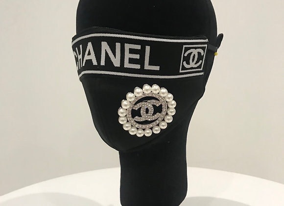 CHANEL, Black Neo Prene, Pin, CC Black Trim, GLAMical face mask