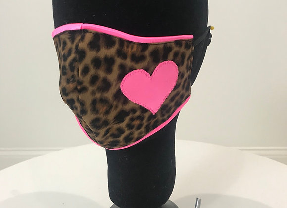 Leopard Heart applique, GLAMical face mask