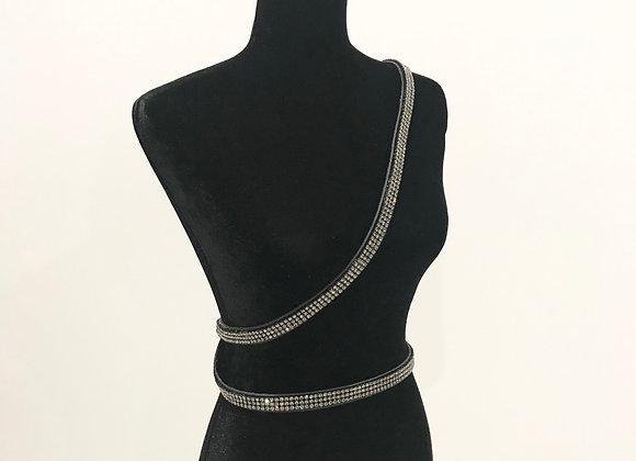 Leather Belt, Double Wrap Cross Body, Black, Swarovski Crystals