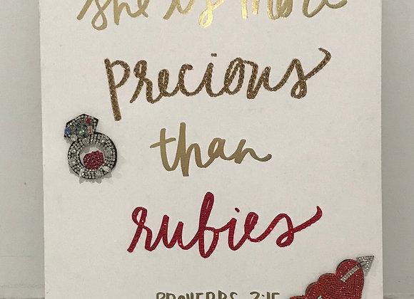 """She Is More Precious Than Rubies"" Wall Art, Wood, Swarovski Crystals"
