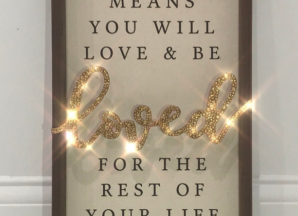 """Being A Family Means You Will Love ....."" Wall Art, Wood, Swarovski Crystals"