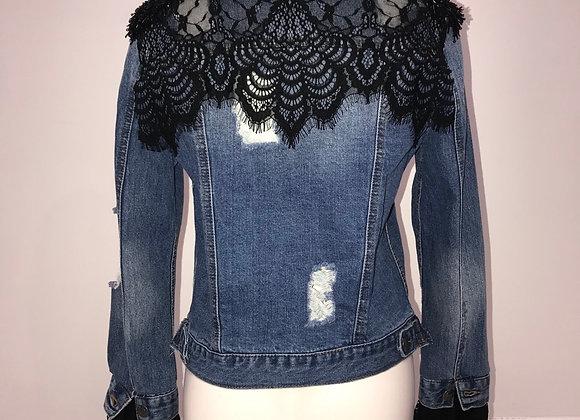 Ladies L/S Blue Denim Jacket, black lace at cuff & back, beaded sequin shoulder