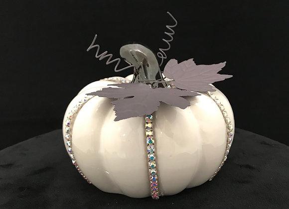 Pumpkin, White, rhinestone silver trim