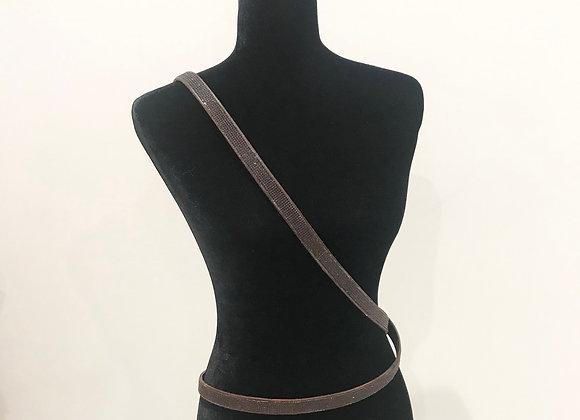 Leather Belt, Double Wrap Cross Body, Dark Brown, Swarovski Crystals