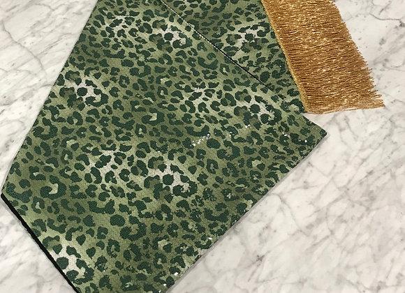 Table Runner, Green Animal Print Sequin, Beaded Fringe