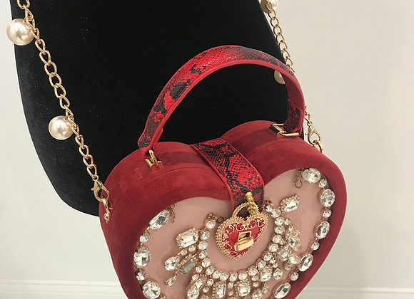 Purse, Dolce & Gabbana inspired, Red Heart