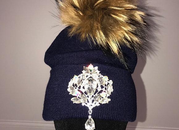 Winter Hat, Blue, brown fox fur pom