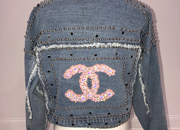 CHANEL, L/S Blue Denim Jacket, Tweed logo, iridescent pink crystal