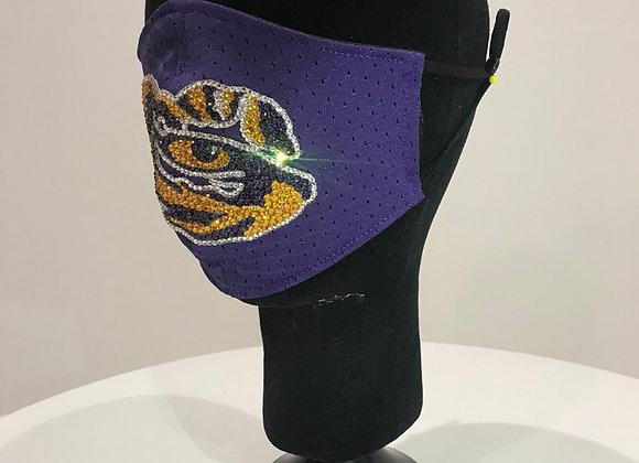 LSU Tiger Mascot, Purple Jersey, Swarovski Crystals, GLAMical face mask