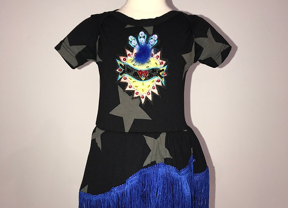 BLACK STAR, S/S Onsie Dress, blue fringe, yellow heart fur pom rhinestone sequin