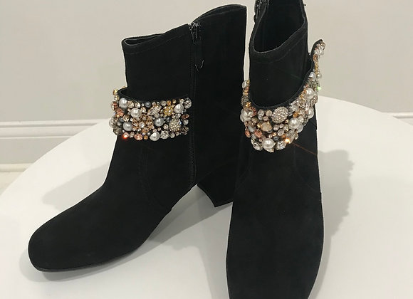 EARTHIES Ankle Boots, Black Suede, Crystals/Pearls