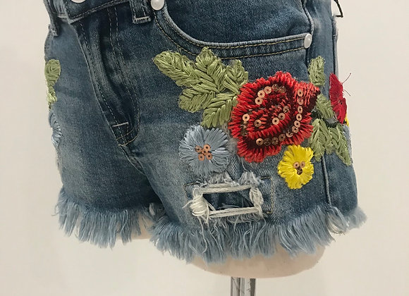 Denim Cut Off Shorts, 7 FOR ALL MANKIND, Designer Floral Patches