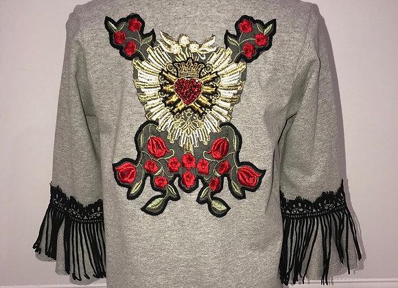 Ladies 3/4 Sleeve Pullover Sweatshirt rhinestone applique