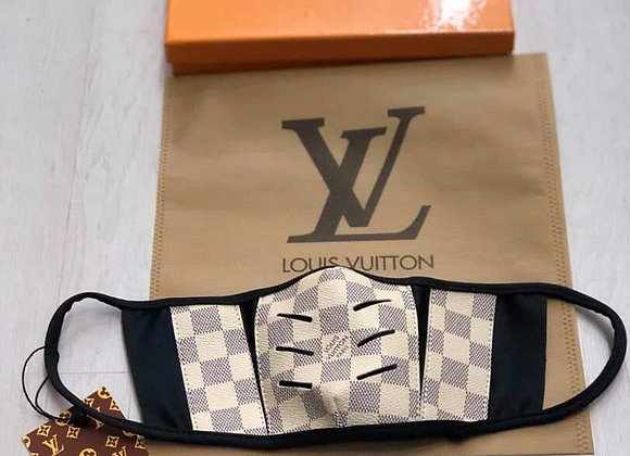 LOUIS VUITTON, Coated Damier Canvas, Cream/Gray Square, face mask