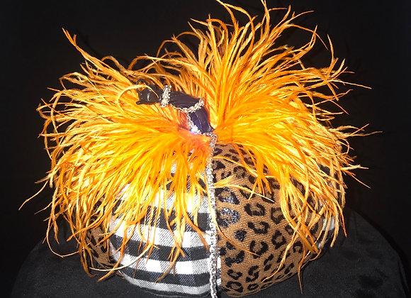 Pumpkin, Black & White Check/Leopard, Orange Ostrich Feathers