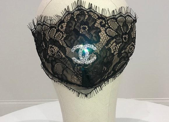 CHANEL, Black Lace, CC Swarovski Crystals, GLAMical face mask