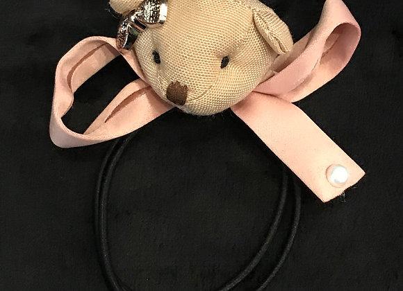 Hair Band, Elastic, Brown Teddy Bear, Pink Ribbon