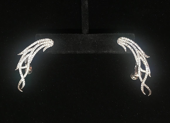 Earrings, Pierced, Wing Jacket,  Cubic Zirconia - Clear