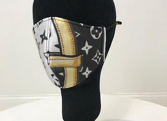 LOUIS VUITTON, Silk, Black/White/Gold Chain pattern, GLAMical face mask
