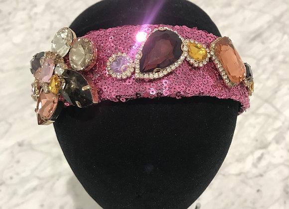 Headband, Pink Sequin, Crystals, Rhinestones, Flower Pattern